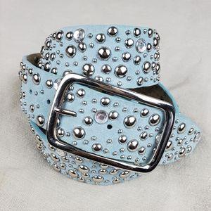 Blue Leather Sliver Studded Belt XL